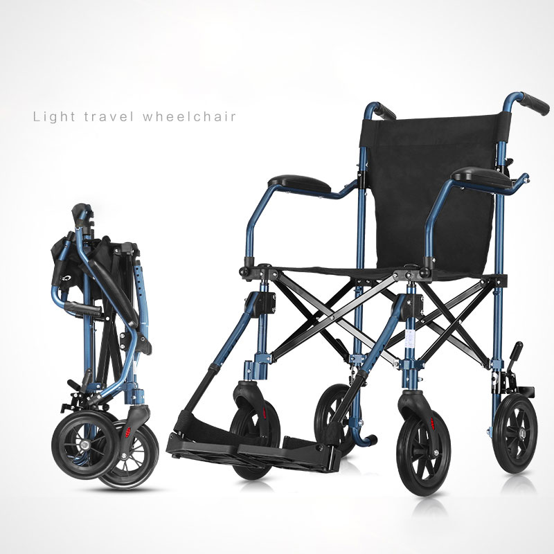 Cofoe Wheelchair Folding Portable Trolley Cart Old People Travel Scooter Light Handiness Load Bearing 110kg for the Disabled
