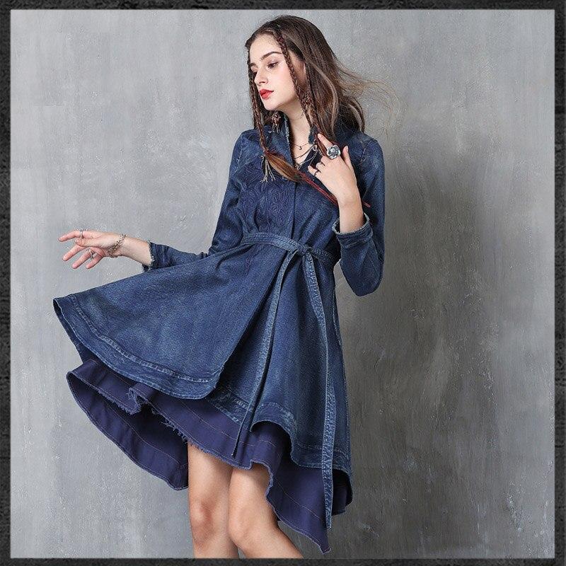 906424ecd1f1 Brand women shirt 2019 spring and autumn embroidered cowboy women s cardigan  retro disc buckle belt long-sleeved jacket women