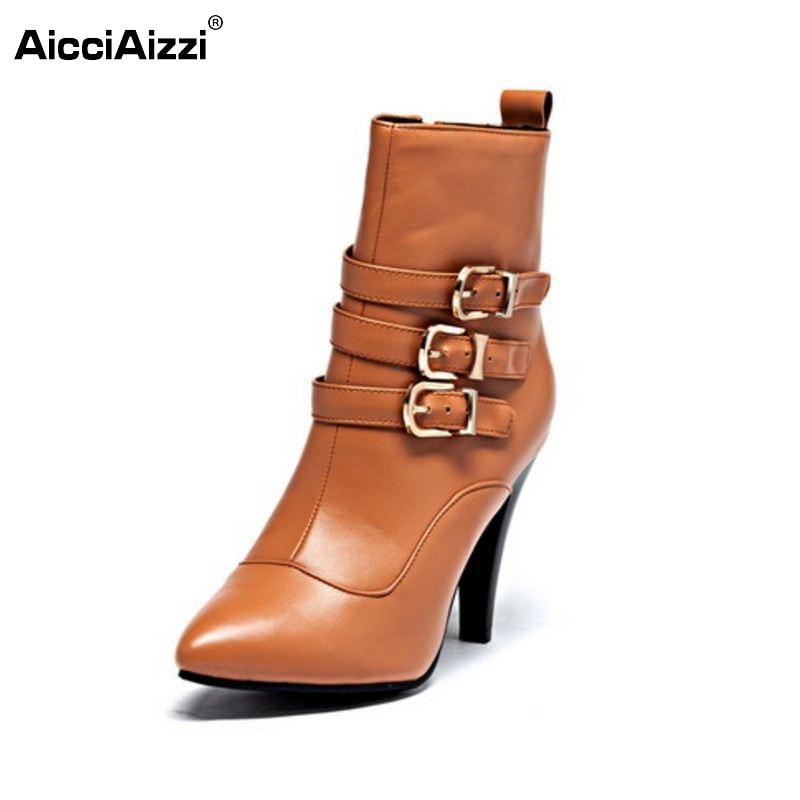 ФОТО Size 33-45 Women Pointed Toe High Heel Half Knee Boots Autumn Winter Warm Sexy Wedding Boot Heels Botas Footwear Shoes