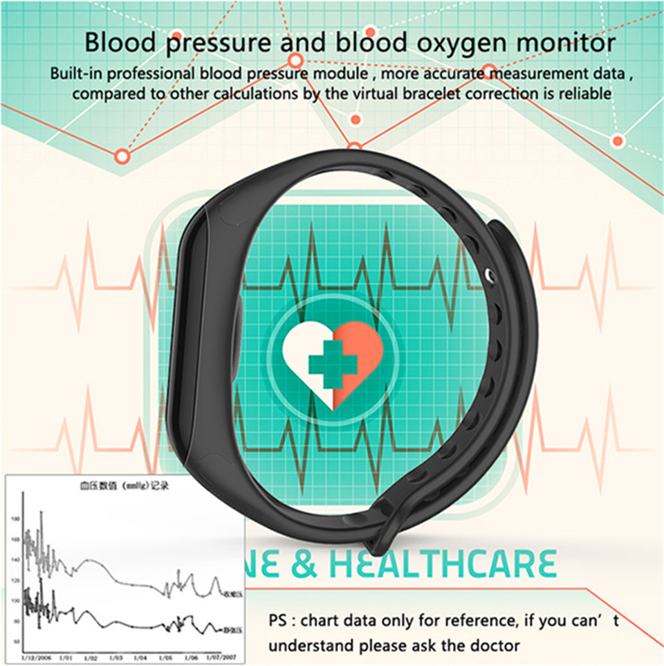 LETIKE Blood Pressure Smart Bracelet Sport Pedometer Fitness Tracker Wrist Smartband Pulse Measure Waterproof For IOS Android 4