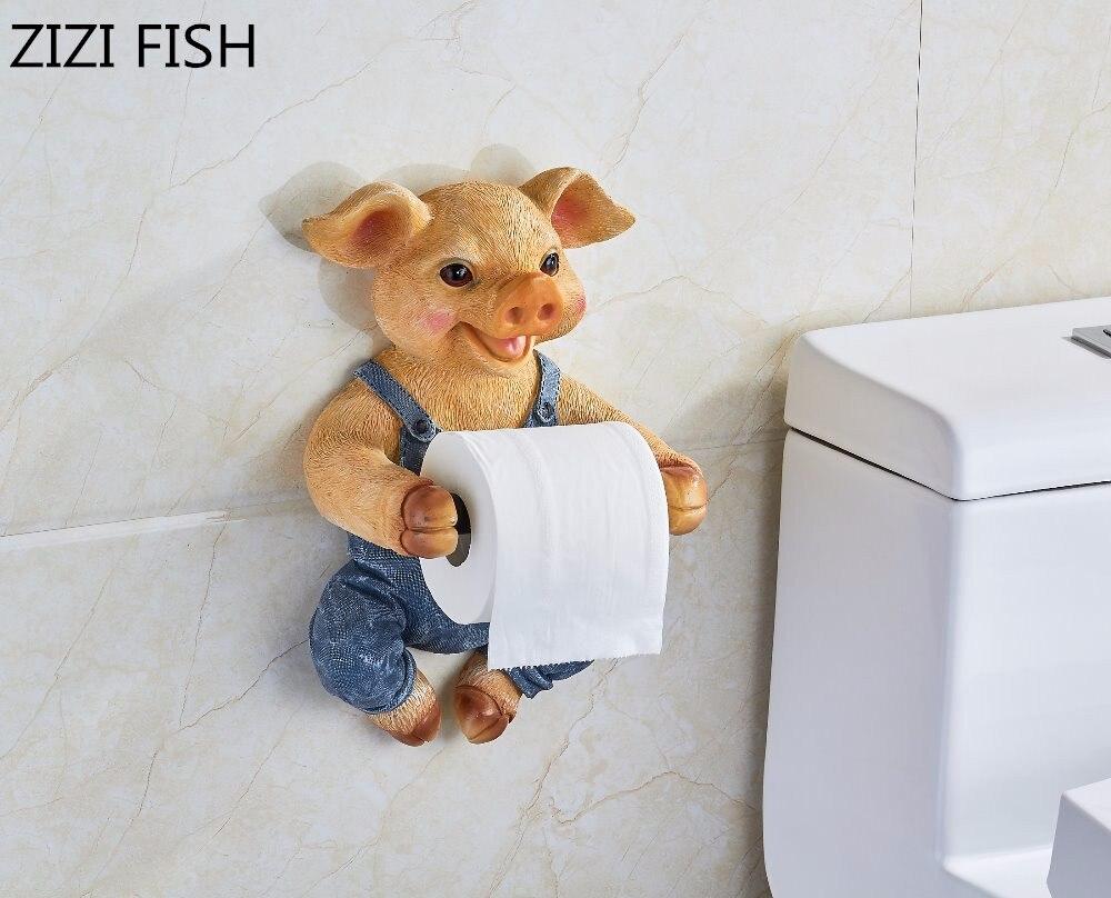 3D Toilet paper holder Toilet hygiene resin tray Free punch hand pig tissue box household paper towel holder reel spool device
