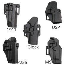 Treinamento tático caça mão esquerda direita arma coldre para glock 17/hk/usp/1911 m9 preto cor da cintura airsoft