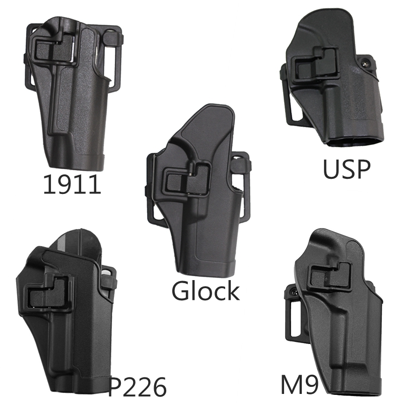 Tactical Training Hunting Left Right Hand Gun Holster For Glock 17/HK/ USP/1911/P226/ M9 Black Color Waist Airsoft Gun Holster