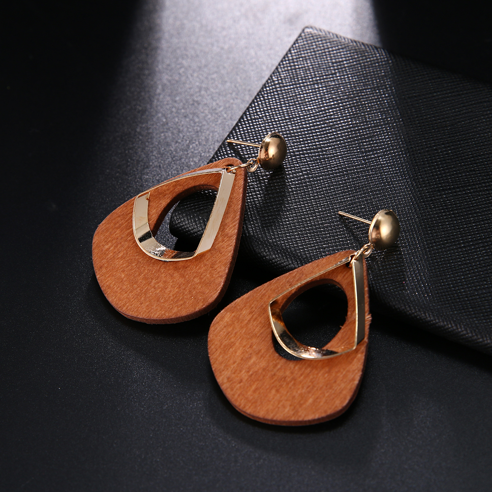 HTB1gQXFUXzqK1RjSZFvq6AB7VXaH - Trendy Party Jewelry Vintage 2019 Women's Fashion Statement Earring Red  Brown Black Color Long Wooden Brincos Wedding Gift