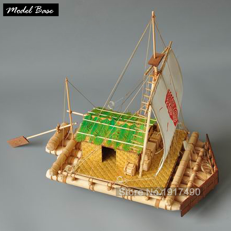 Wooden Ships Models Kits KON Tiki Boats Ship Model Wood Kit Scale 1/16 Raft Model Hot Toys Hobby Wooden Model-Ship-Assembly цена