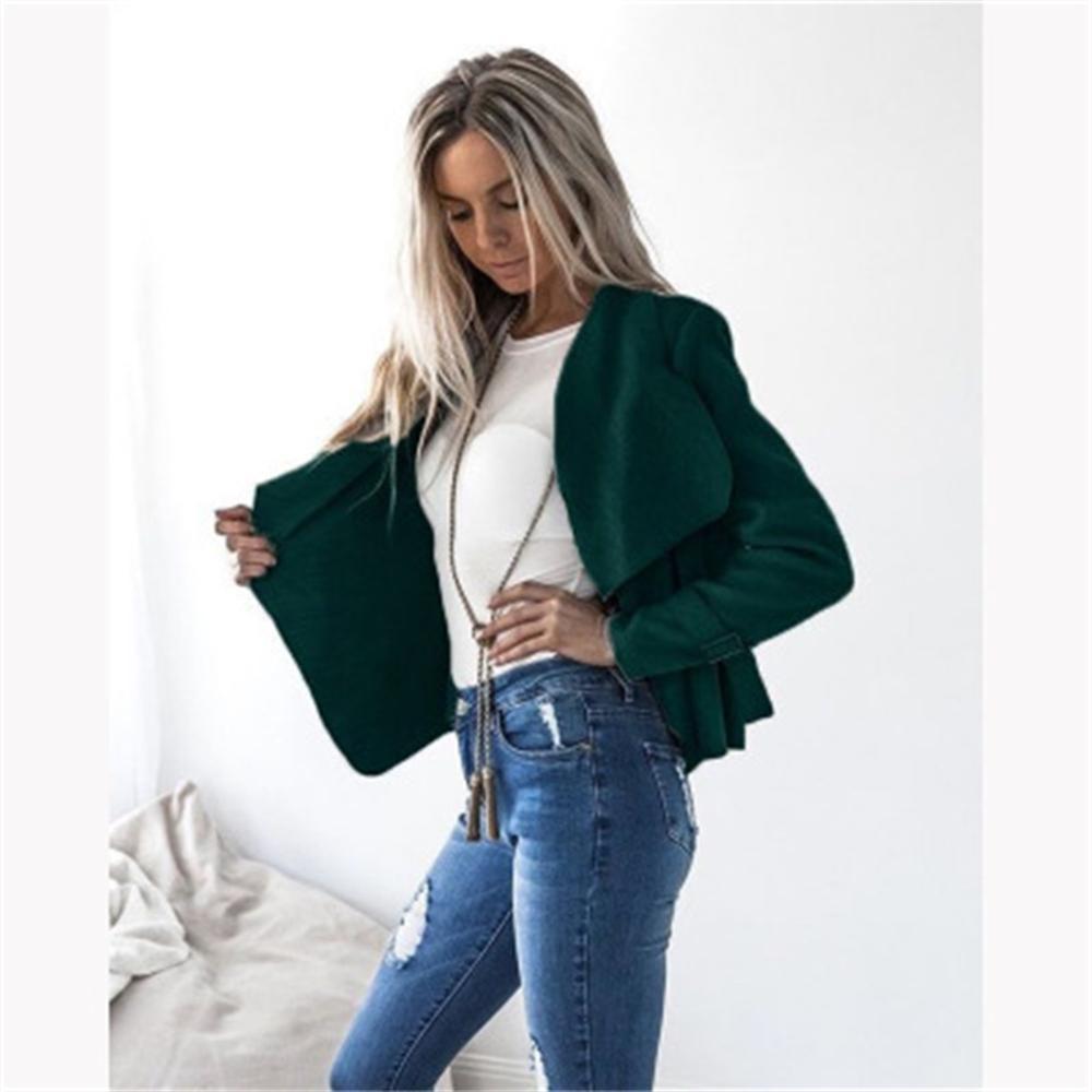Autumn Spring Long Sleeve Solid Cardigan Women Wide Lapel Woolen Coat Jacket Slim Outwear Jacket Wine Gray Black Green Khaki