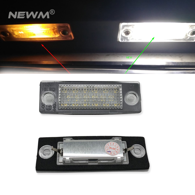 1pair New 18 LED License Number Plate Light Lamp For VW T5 Caddy for Golf Passat Touran Jetta for Skoda Super White 12V new led license number plate lights for vw t5 passat 3c b6 caddy touran jetta golf plus no error