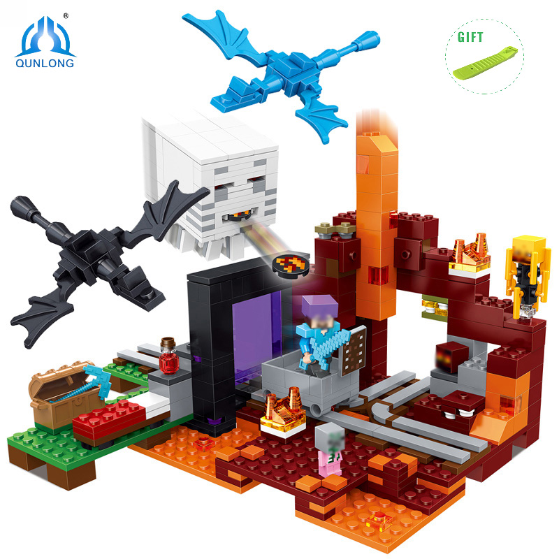 470pcs My World DIY Ghost Castle Model Building Blocks Compatible Legoed Minecrafted City Sets Dragon Action Figures Kids Toys qunlong toys compatible legos minecraft city model building blocks diy my world action figures bricks educational boy girl toy