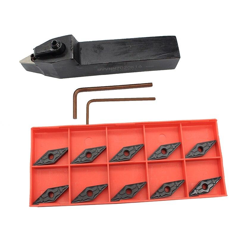 Set di Supporto per Utensili di Tornitura,SRAPR1616H10 Taglierina Tornio con Inserti in Metallo Duro Chiavi per Facciate per Tornio Esterno in Lega di Alluminio Duro