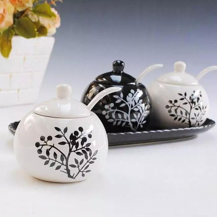 Belle bouteille d'assaisonnement en céramique 3 pièces/ensemble pot à épices noir et blanc sauce pot fournitures de cuisine conteneur de stockage réservoir - 5