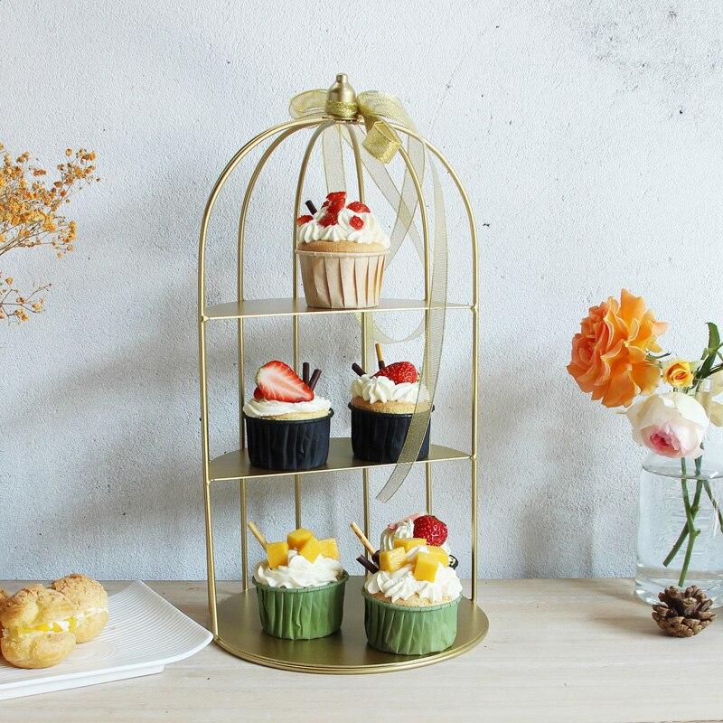 Support à bijoux en métal doré panier à fruits support à gâteau plateau à cupcake cage à oiseaux outils de gâteau d'anniversaire décoration de la maison étagère de table de dessert