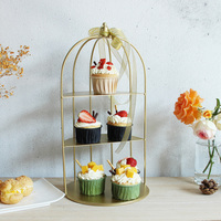 golden metal jewelry stand fruit basket cake stand cupcake tray birdcage birthday cake tools home decoration dessert table shelf