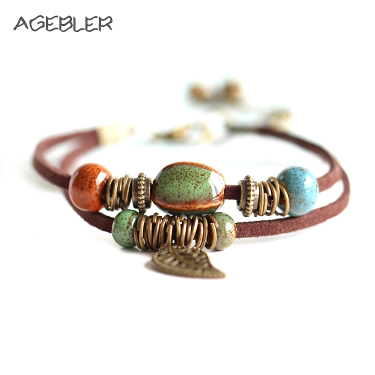 Hot Bohemia jewelry Ceramic Leather Bracelet & Bangles for Women Male Colorful Bead Leaf Pendant Small Bell Men Bracelets 2018