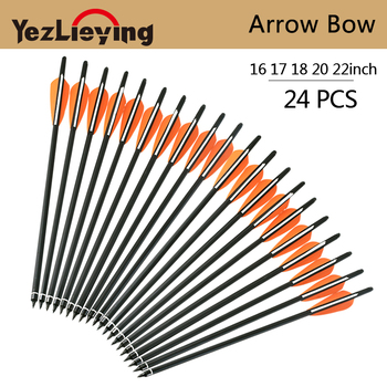 16/17/18/20/22 Inch Carbon Arrow with 125 Grain Replaceable Arrowhead Orange White Feather for Recurve Bow Hunting Archery