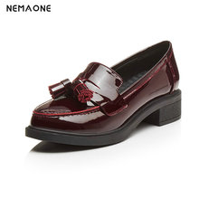 NEMAONE Pumps Women Rounded toe Low Heel Shoes Lady Slip On Casual classic lady wine black genuine leather leather shoe