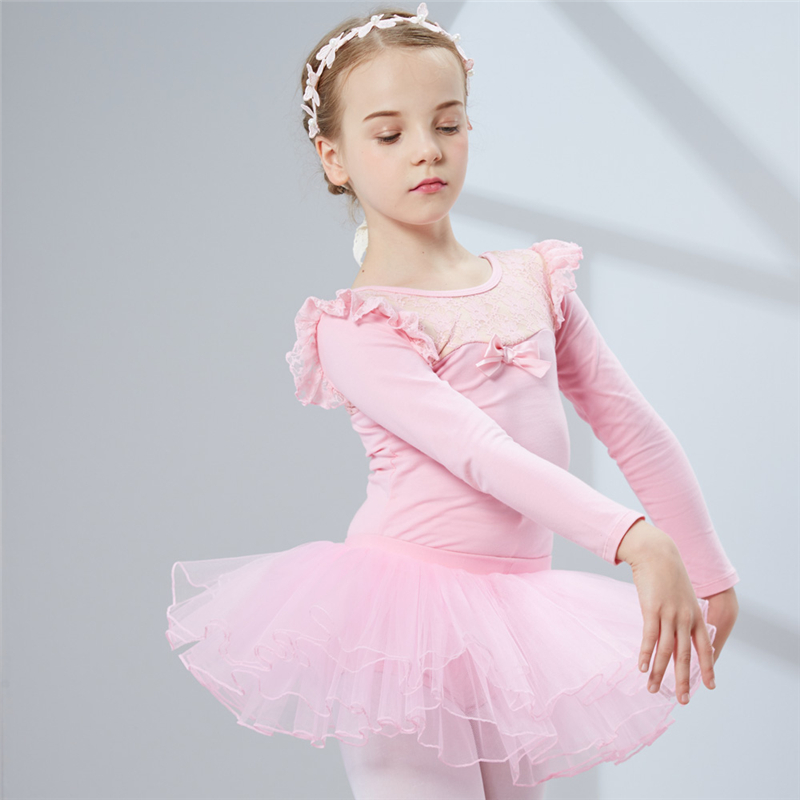 Combed Cotton Ballet Dress Dance Dress Tutu Ballet For Girls Kids Children High Quality Ballerina Long Sleeves Tulle Dance