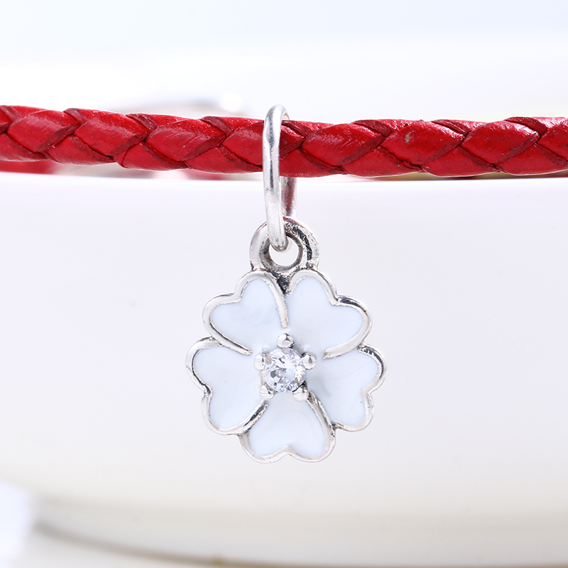High Quality Enamel White Flower Dangle charms silver S925 Logo Fit Pandora Bracelet 925 original Beads for jewelry Making Gift