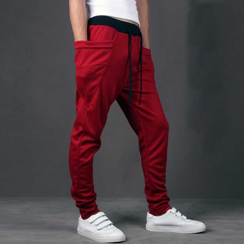 Повседневные мужские брюки Уникальный большой карман хип-хоп шаровары Качественная верхняя одежда спортивные брюки повседневные мужские бегуны Топ здесь мужские брюки