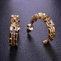 Blucome simples curvo arco simulado diamante minúsculo pequeno brincos do parafuso prisioneiro para as mulheres mujer brincos ródio banhado a ouro de casamento de cobre