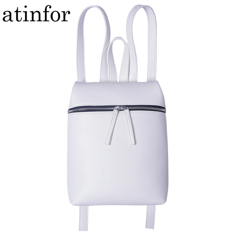 Atinfor Brand Minimalist Designer PU Leather Small Backpack Women White And Black Backbag Female Daily Travel Bagpack