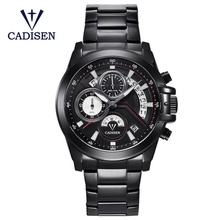 2018 New Watches Men Luxury Brand CADISEN Chronograph Sports Waterproof Full Steel Quartz Watch Relogio Masculino