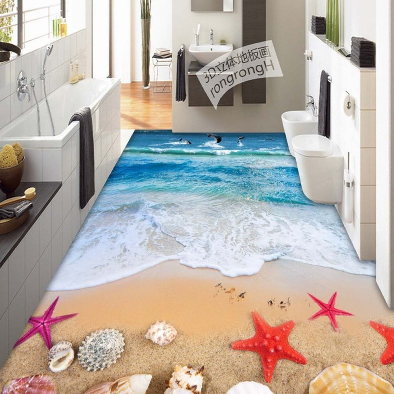 Free Shipping 3D stereo Beach flooring wallpaper living room hotel restaurant self-adhesive wear floor mural free shipping marble texture parquet flooring 3d floor home decoration self adhesive mural baby room bedroom wallpaper mural