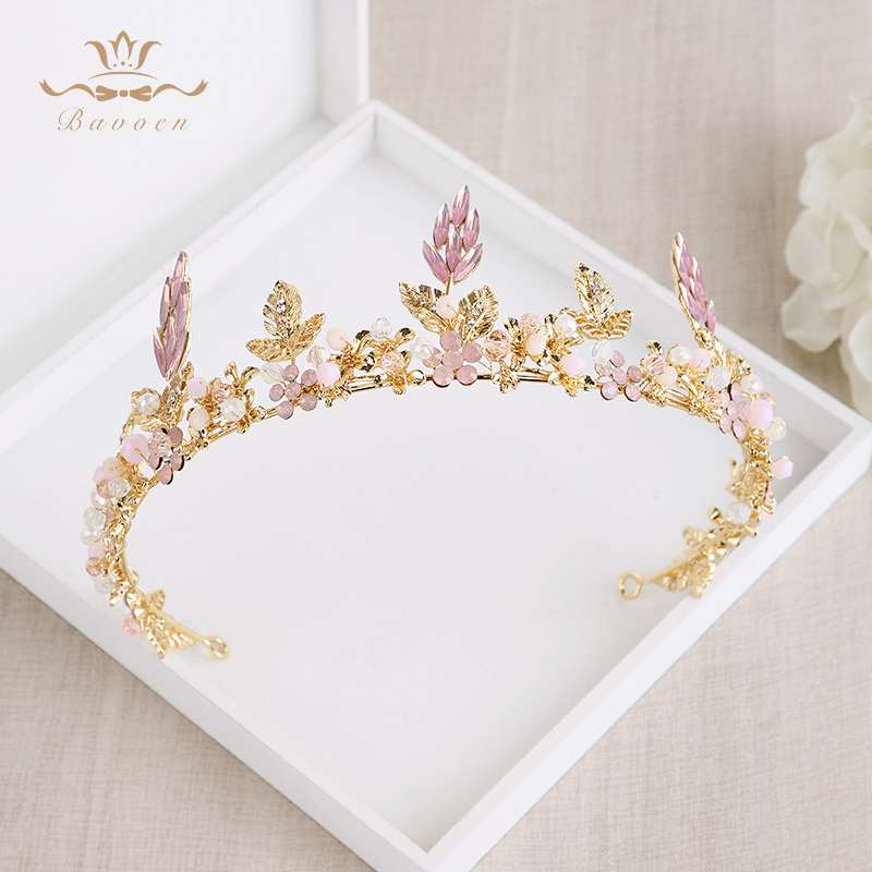 Bavoen 2 Colors European Gold\Black Baroque Brides Tiara Crown Pearls Crystal Hairbands Wedding Hair Accessories black and coffee 2 colors hair tiara ancient chinese emperor or prince costume hair crown piece cosplay use for kids little boy