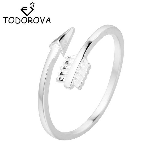 Todorova New Arrival Classical Jewelry Adjustable Silver Small Arrow Rings for W