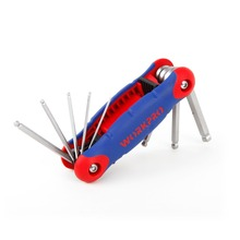 WORKPRO 8 IN 1 Folding Ball Point Key Set with Rubber Grip Metric Ball Ended Hex Allen Key Wrench Set Free Shipping