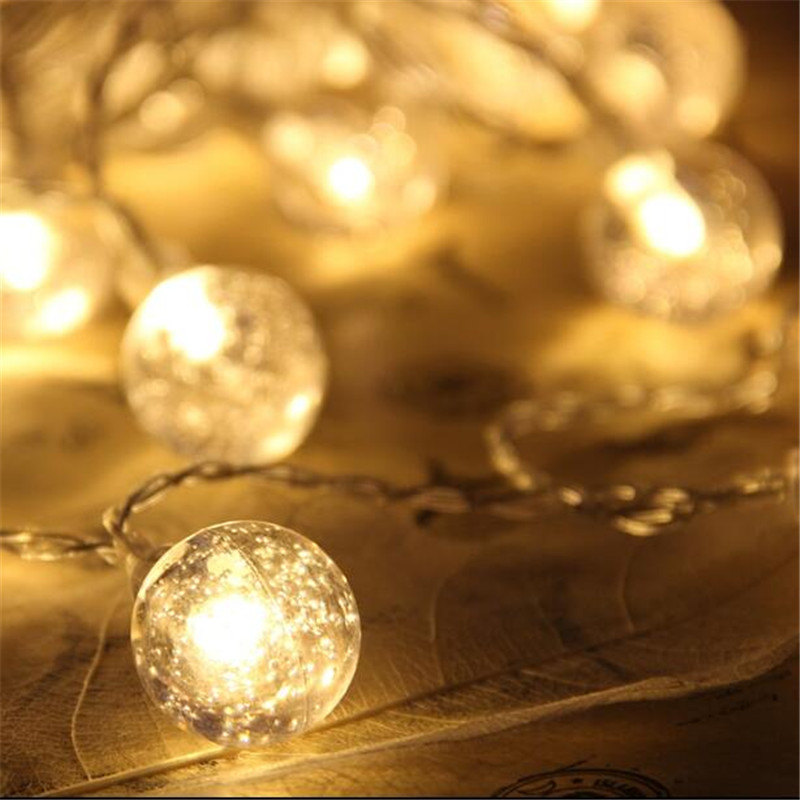 10M 80 LED Globe String Lights Warm White/White Bubble Ball Fairy Light for Party Christmas Wedding New Year Indoor Decoration 40 led grinding white ball christmastree string lights decorated colored lamp