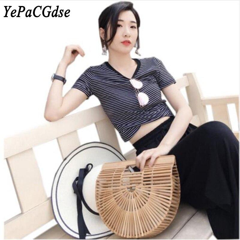 YEPACGDSE New ladies hollow handmade bamboo woven storage bag travel beach handbag wooden semicircular cage in Storage Bags from Home Garden