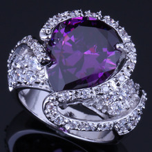 Awesome Big Water Drop Purple Cubic Zirconia White CZ 925 Sterling Silver Ring For Women V0568 awesome big long golden citrine white cz engagement 925 silver ring sz 7
