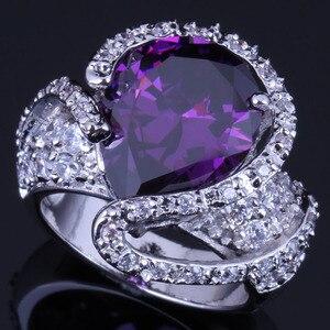 Niesamowite duża kropla wody fioletowa sześcienna cyrkonia biały CZ 925 Sterling srebrny pierścień dla kobiet V0568