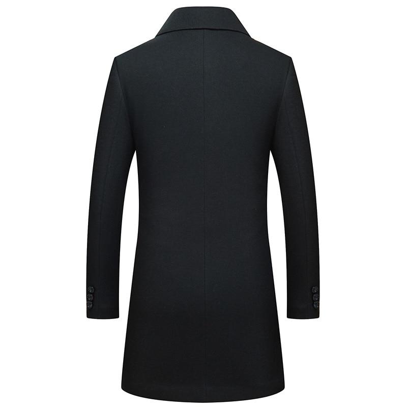 Manteau Noir Longue Homme Slim Veste Qualité D'hiver Hommes New 2018 Fit Laine Tranchée Excellente Casual qI46E