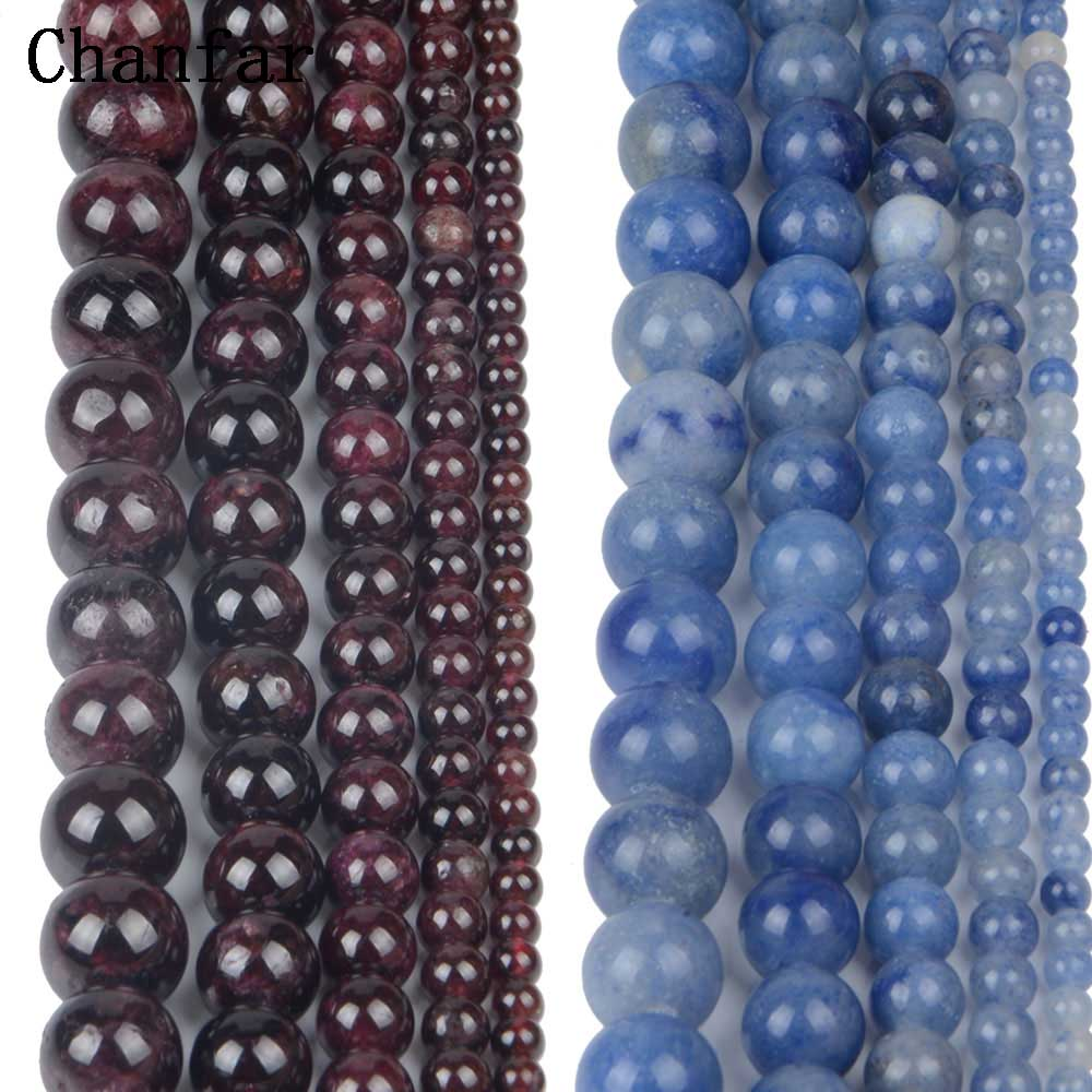 Red Garnet Stone Blue Aventurine Women Jewelry Fashion Making Loose Beads 4 6 8 10 12mm