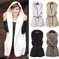 Moda inverno 2016 das Mulheres Novas Coréia Moda Meninas Elegante Warmer Casual Brasão Bushy Hoodie Longo Vest Hot 4 Cores disponível