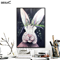 100% Hand Painted Rabbit Giraffe Oil Paintings Cartoon Animal Wall Pictures for Living Room Wall Art Canvas painting poster