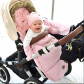 WINTER 100% Brand Baby Stroller Sleeping Bag /pink stroller footmuff with fur for very cold weather use free shipping