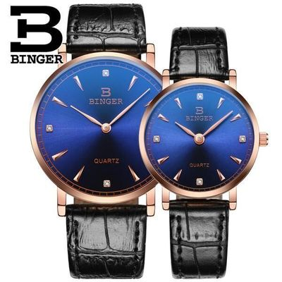 Binger New Watch Women Mens Lovers Couple Quartz Watches Mens Leather Analog Wristwatch Woman Clocks Relogio Montre Summer popular black skull sports watch silicone bands touch screen led watch women mens free shipping gitt for lovers couple