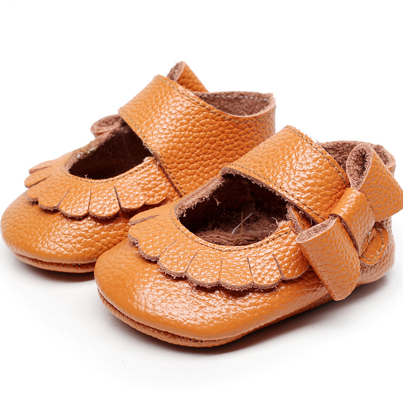 2018 New Genuine Leather Baby Moccasins Cute Baby Girl Candy Color indoor Climb Shoes Toddler Shoes