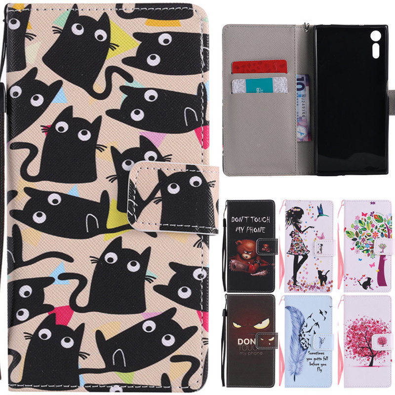 XZ Luxury Cute Cartoon Girl Cat Tree Leather Flip Fundas Case For Coque Sony Xperia XZ Dual F8331 F8332 5.2