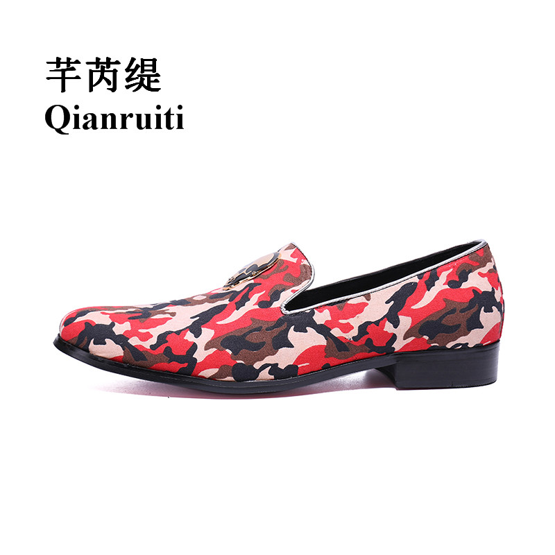 Qianruiti Men's Camouflage Shoes Slip on Canvas Loafers Skull Shoes Chaussure Homme Men Casual Shoes Plus Size EU39-EU46 size 39 45 men casual shoes slip on flats summer shoes men air mesh loafers men shoes chaussure homme zapatos hombre