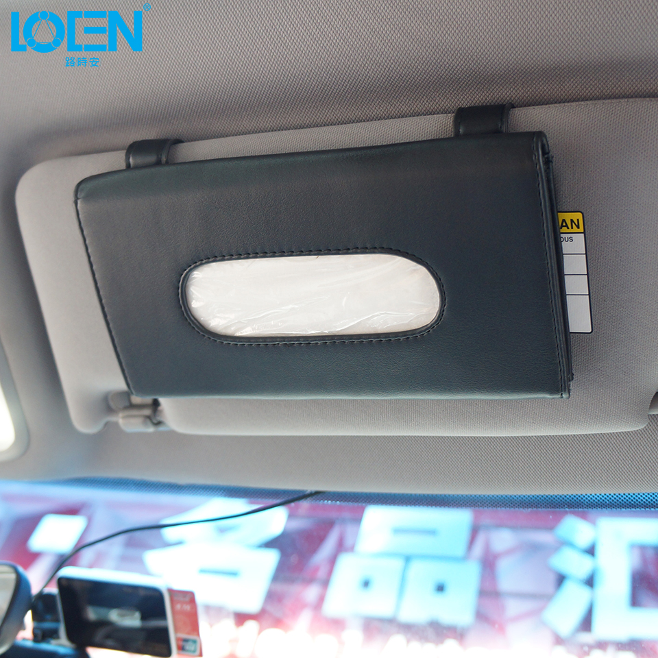 Aliexpress.com : Buy PU Leather Car Sun Visor Tissue bag card holder ...