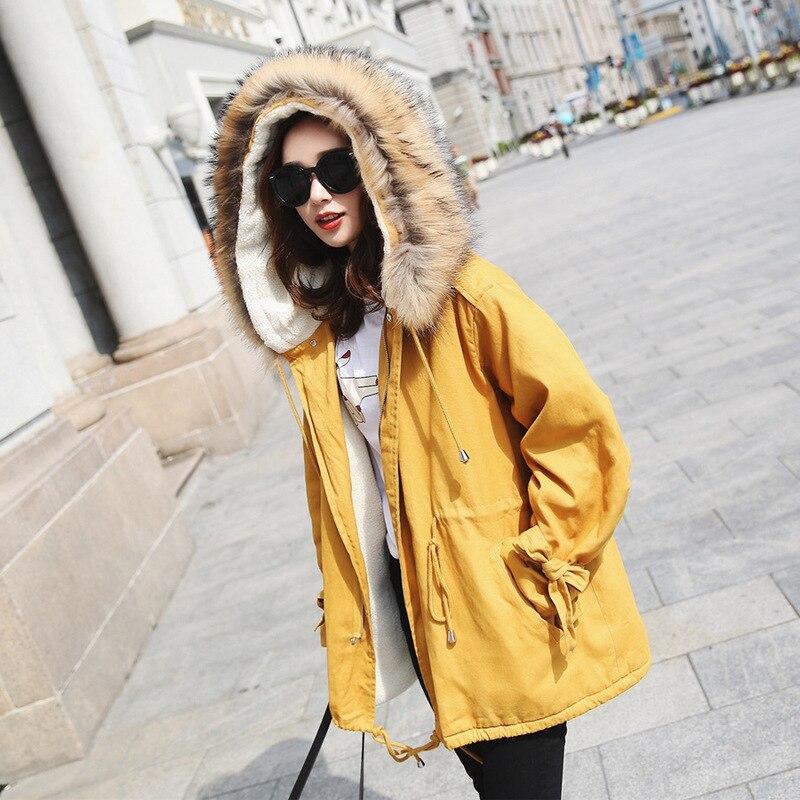Longue Épais De Outillage Section Agneau Hiver Cheveux Jaune Fourrure Manteau Coton Femelle Col yellow Grand qx0BAAw