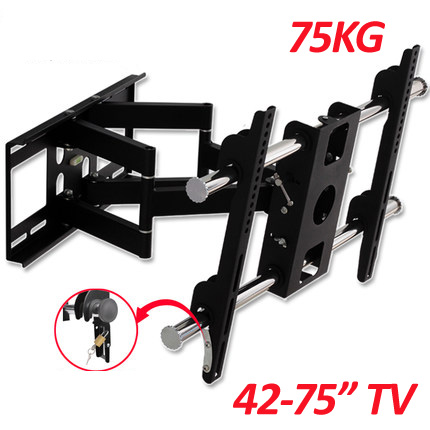 DL D 201MT double arm 42 75 Full motion retractable lcd tv wall mount stainless steel swivel screen bracket stand plasma holder
