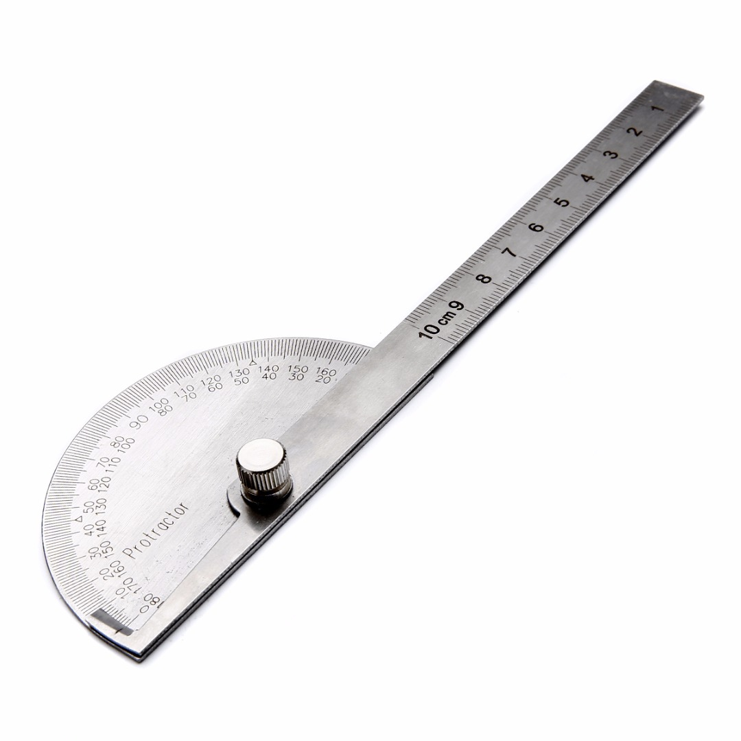 1pcs Stainless Steel 180 Degree Adjustable Protractor Angle Ruler Rotary Measuring Ruler Machinist Tool