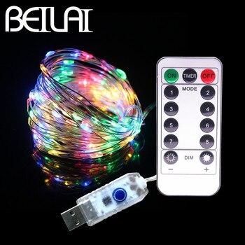 8880fe41a56 33FT 10 m 100 LEDs 5 V LED cadena de luces USB 8 función plata Alambre de  hadas LED luces de Navidad de la boda vacaciones con remoto RF