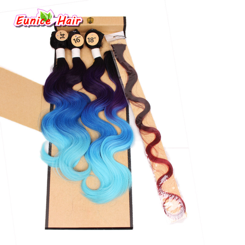 3 Tom Ombre Preto Rosa Azul Cosplay Penteado Onda Do Corpo Do Cabelo trama 1 Peça Fechamento 1 Pacote Pequeno de Encerramento Para As Mulheres Negras cabelo