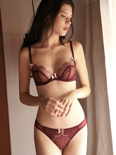 Yhotmeng new love sexy petals gathered with rim perspective bow tie girl ultra-thin cotton pad mesh lace underwear set