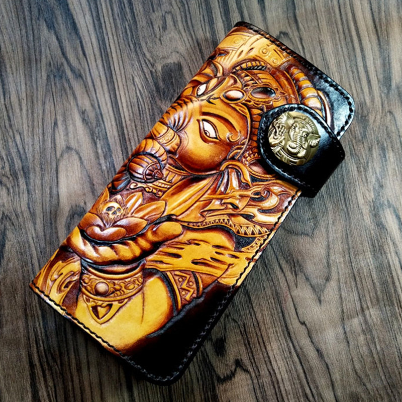 Customization Genuine Leather Wallets Carving Elephant God Purses Men Long Clutch Vegetable Tanned Leather Wallet Card Holder